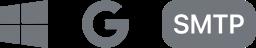 Microsoft, Google, and SMTP logos